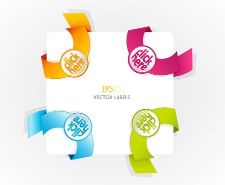 Color vector corner ribbons.