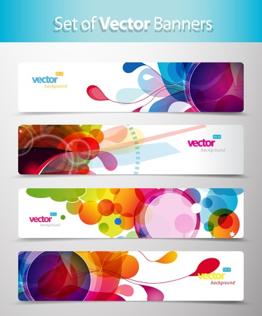 Set of abstract colorful circle illustrations.  Vector