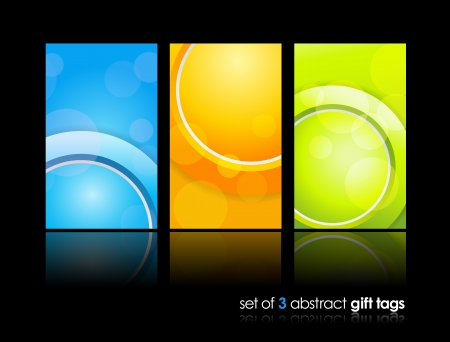 3 separate gift cards with circles.  Vector