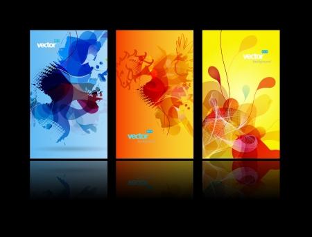 Set of abstract colorful splash illustrations.  Illustration
