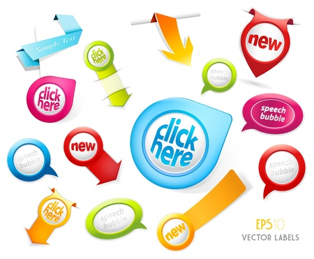 Set of colorful labels.  Vectores