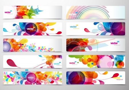 rainbow circle: Set of abstract colorful web headers.