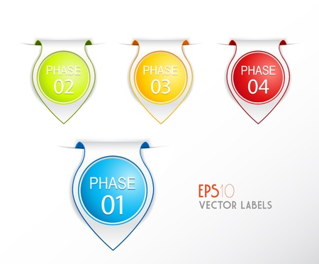 Set of phase badges with numbering. Vector