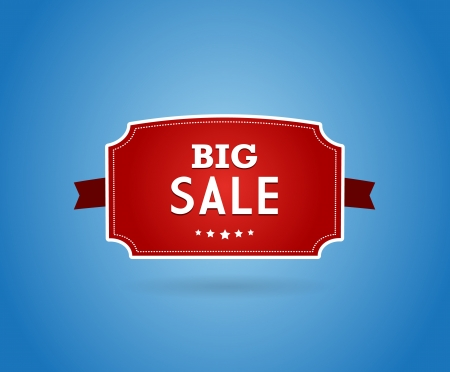 reduction: Red board with big sale sign. Illustration