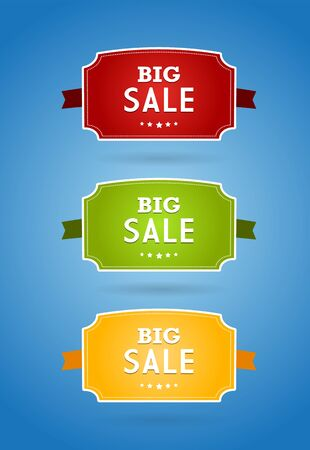 Set of colored boards with big sale sign. Vector