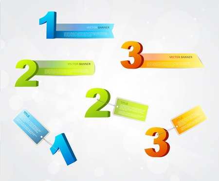 Banners with numbers and place for own text.  Vector