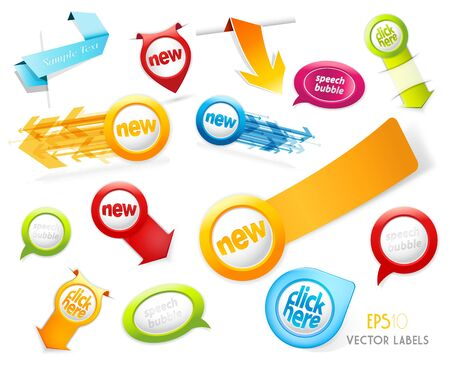 promotional: Set of colorful labels.  Illustration