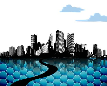 City skyscrapers with abstract blue clouds. Vector