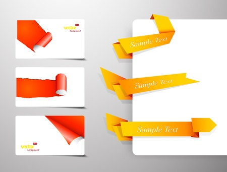 Set of gift cards with rolled corners and origami banners. Vector