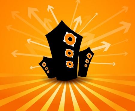 loud speaker: Speakers on orange background.