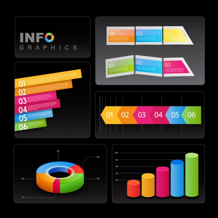 Info-graphic elements on black background.