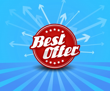 Best offer label with arrows on the background. Vector