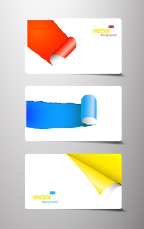 Set of gift cards with rolled corners.  Vectores