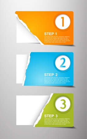 Set of teared card with place for your own text.