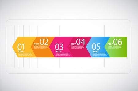 proces: Sześć kroków strzałki do prezentacji. Ilustracja