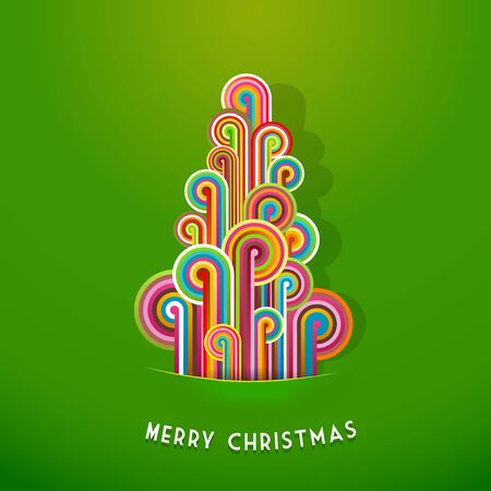 Christmas tree made from curled colorful lines. Vector