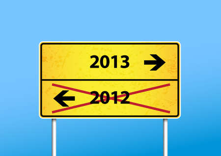 Yellow sign with 2013 direction. Vector