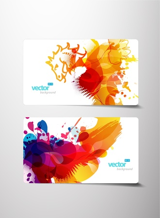 grunge brush: Set of abstract colorful splash gift cards.