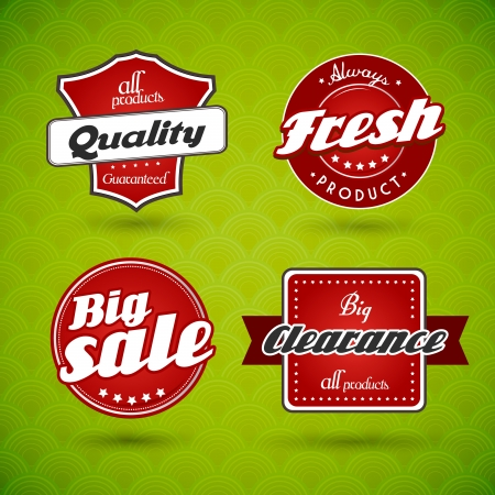 Set of red labels on green abstract background.