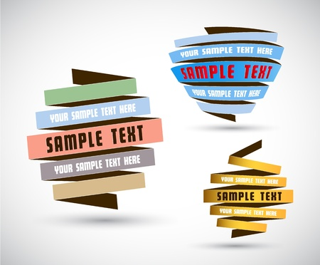 Set of origami papers with place for your own text.  Vector