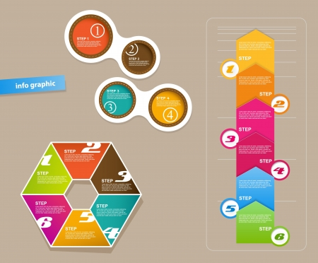 Set of infographic objects with numbers.
