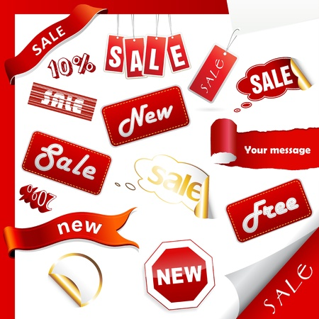 Set of sale icons, labels, stickers. Illustration