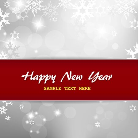 Happy New Year on silver background with snow flakes. Stock Vector - 17680157