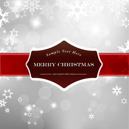 Happy Christmas on silver background with snow flakes. Vector