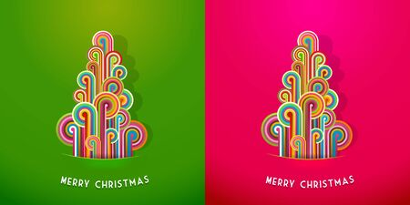 Christmas trees made from curled colorful lines. Vector