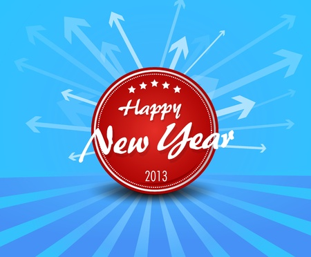 Red New year label on blue background arrows. Stock Vector - 17679998