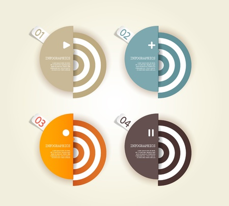 Four colored paper circles with place for your own text. Stock Vector - 19108607