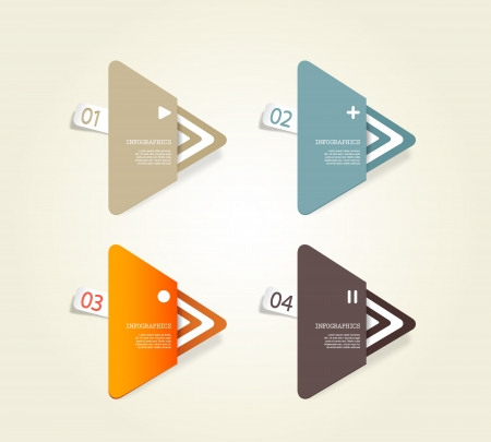 Four colored paper triangles with place for your own text. Vectores