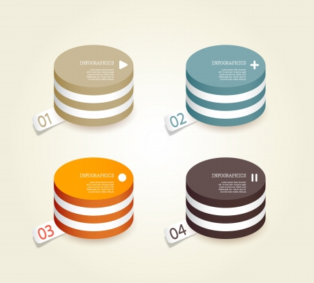 Four colored paper circles with place for your own text. Stock Vector - 19108593