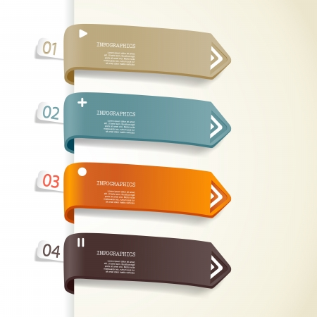 Four colored paper stripes with place for your own text. Vectores