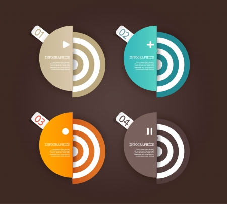 Four colored paper circles with place for your own text. Stock Vector - 19108596