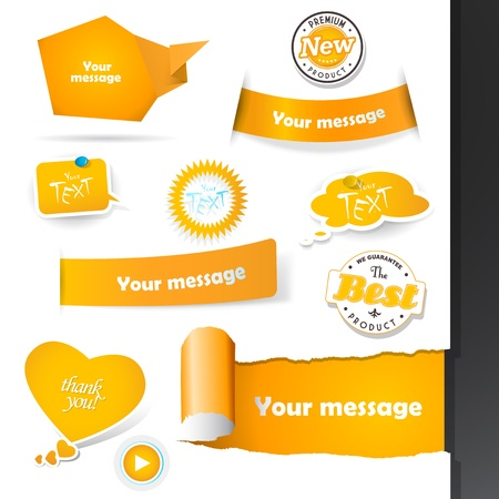 Set of orange labels and paper badges. Stock Vector - 20216061