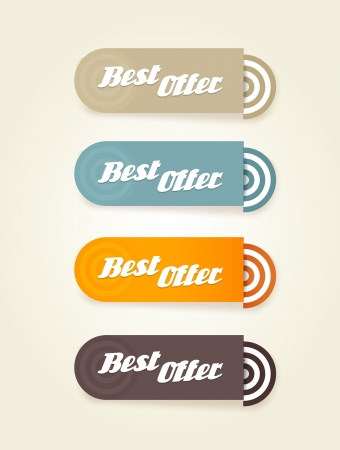 stipes: Four colored paper stipes with best offer text.