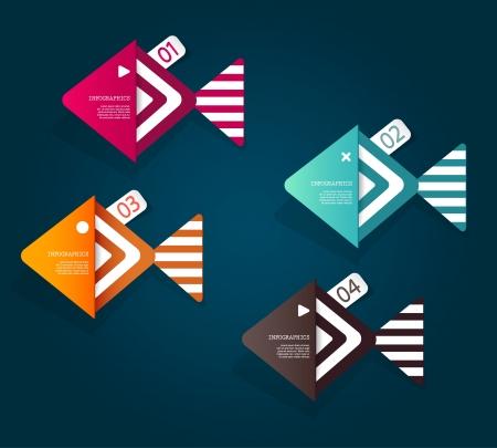 pez abstracto: Conjunto de objetos de papel en forma de pescado con lugar para el texto.