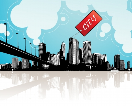 City scape with sky and clouds at the background and badge with place for your own text. Stock Vector - 20216115