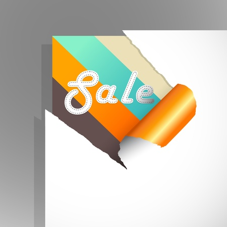 Teared paper with colored stripes and sale text.  Vector