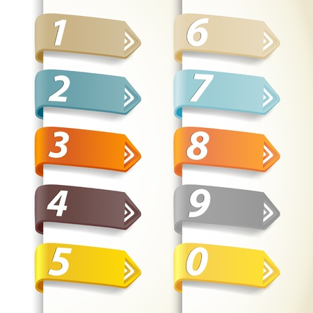 Set of colorful numbers with arrows. Illustration