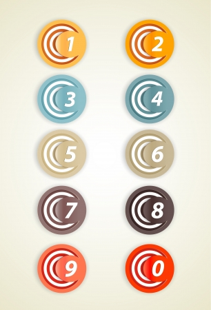 trio: Set of colorful circles with numbers.