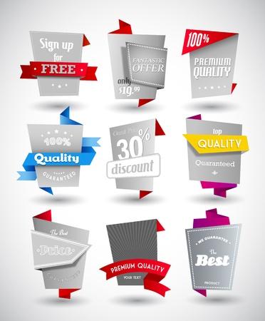 compromiso: Conjunto de etiquetas de papel gris con piezas de colores. Vectores