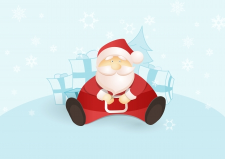 Siting Santa with presents and Christmas tree. Vector