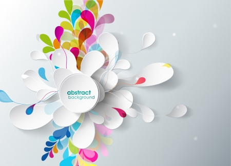 design elements: abstract background with paper flower.
