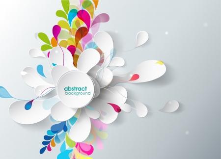 background: fond abstrait avec des fleurs en papier. Illustration