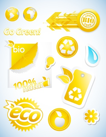 Set of yellow ecology icons. Vector
