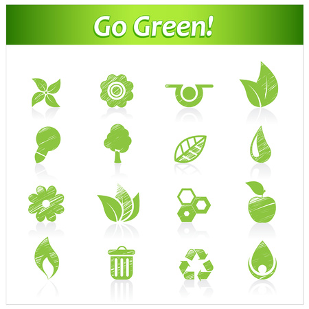 Set of hand drawn eco icons. Vector
