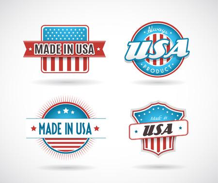 gemaakt: Set van vier Made in USA labels.