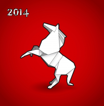 Oriental origami New year horse on red background.
